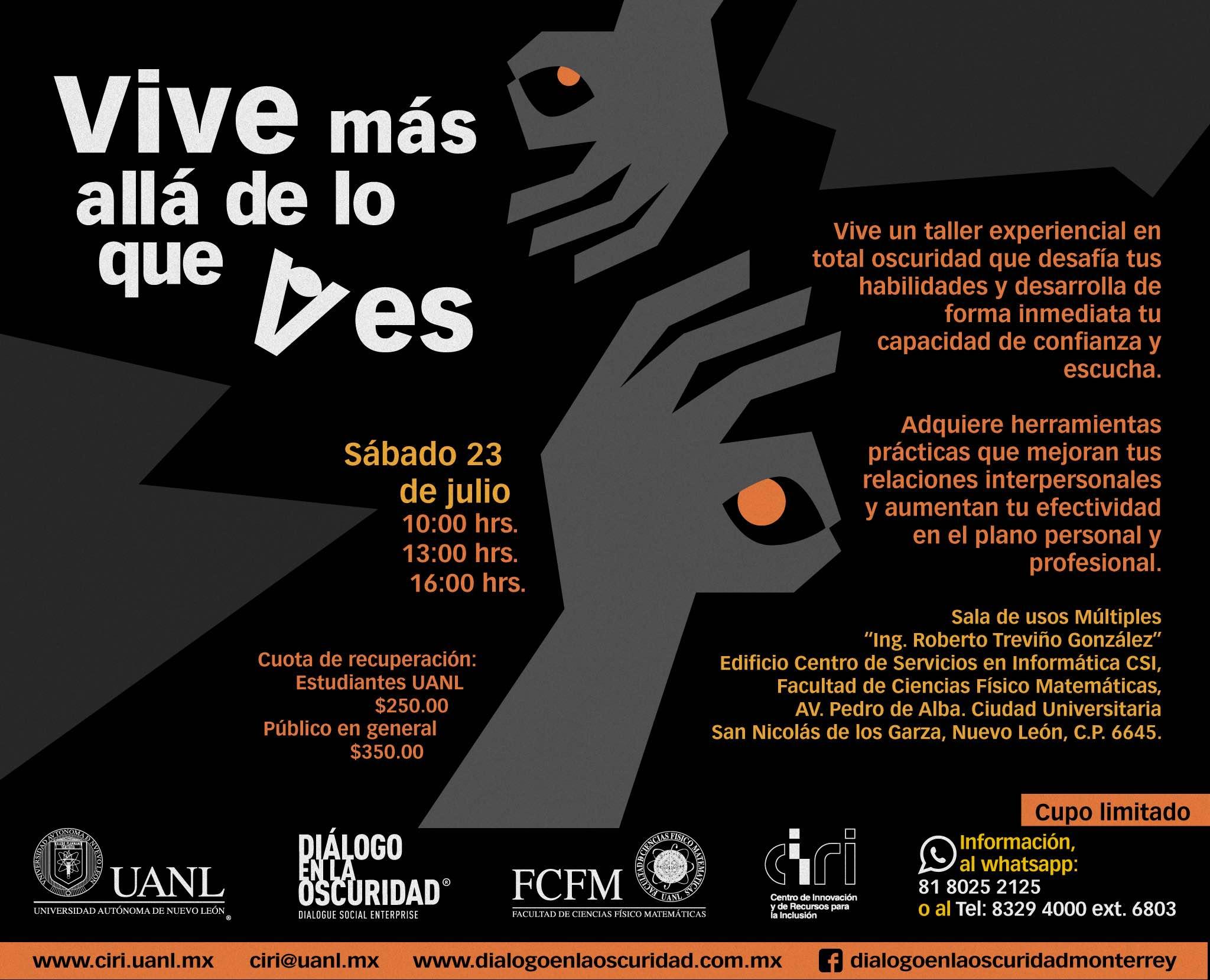 Talleres en la oscuridad en la Universidad Autónoma de Nuevo León