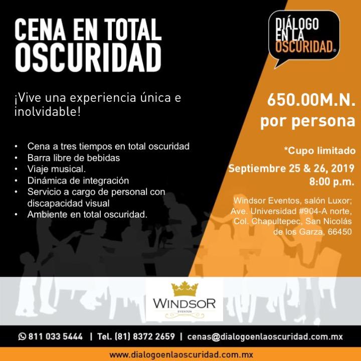 Cenas enTotal Oscuridad 25 y 26 de Septiembre 2019